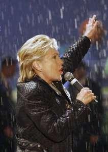 Hillary in the rain.